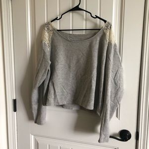 Sweaters - Grey off the shoulder croptop sweater
